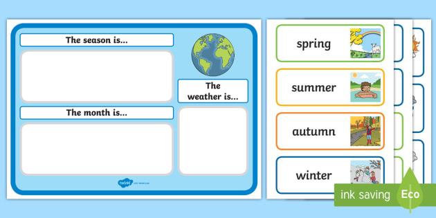 Month Weather And Season Calendar Esl Months And Seasons