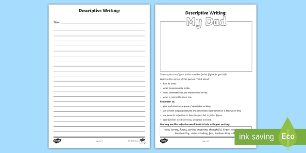 Fathers Day Descriptive Writing Worksheet Activity Sheet