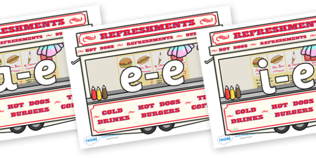 Modifying E Letters on Fairground Food Vans - Modifying E, letters, modify, Phase 5, Phase five, alternative spellings for phonemes, DfES letters and Sounds