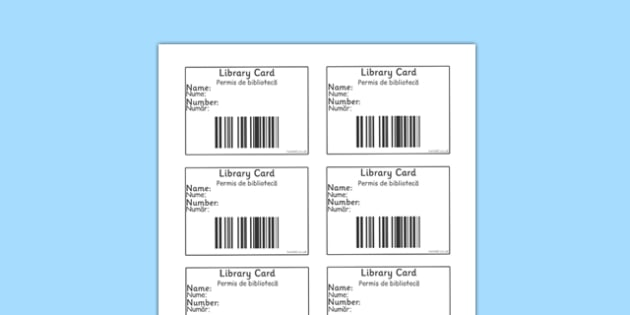 Library Role Play Library Cards Romanian Translation - romanian, library, books, book, library card, borrow, lend, fiction, non-fiction, reading, card, librarian, shelves, labels, label