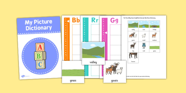 The Three Billy Goats Gruff Picture Dictionary and Word Card Set