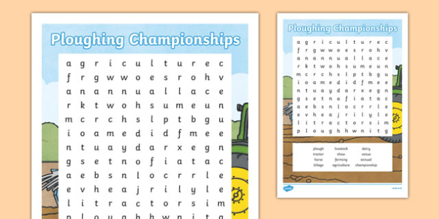 National Ploughing Championships Word Search