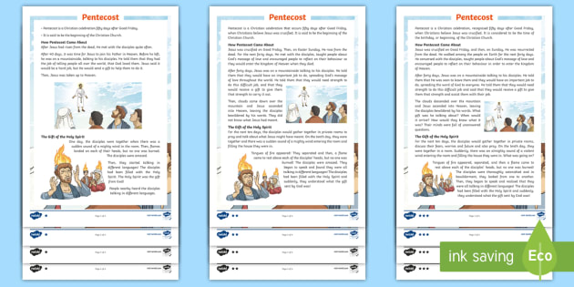 Ks2 Pentecost Differentiated Reading Comprehension Activity Christian