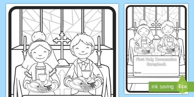 My First Holy Communion Scrapbook Cover Colouring Page