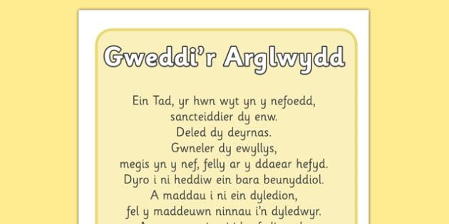 Poster Gweddi'r Arglwydd - welsh, wales, lords prayer, display posters