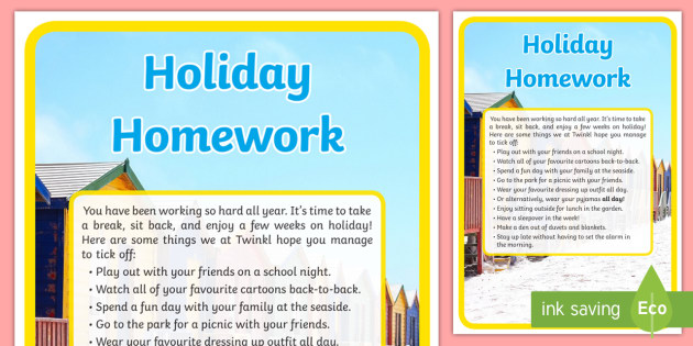 Holiday Homework for Children Checklist
