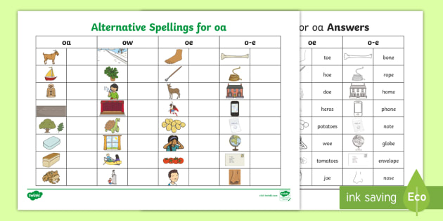 Alternative Spellings oa/oe/ow/o-e Table Worksheet - KS1