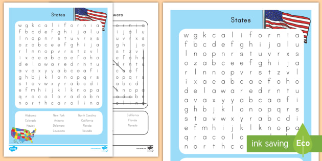 States Word Search Capitals USA States US States US