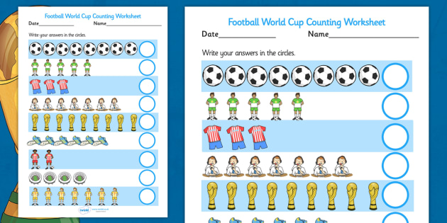 Football World Cup Counting Worksheet - football, sport