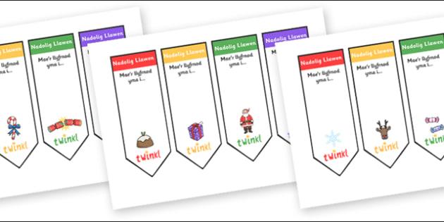 Llyfrnodau Nadolig (Golygadwy)  - christmas, bookmarks,cymru
