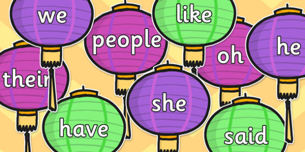 Tricky Words on Chinese Lanterns - chinese lanterns, tricky words