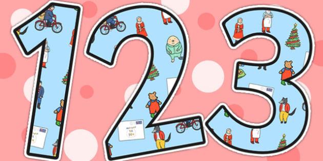 The Jolly Christmas Postman Small Display Numbers - the jolly christmas postman, display numbers, display lettering, numbers for display, cut out number