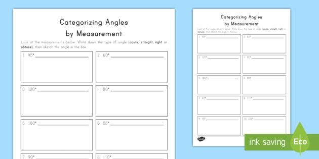 Categorizing And Drawing Angles Worksheet Activity Sheet
