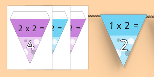 2 Times Table Bunting - multiplication, displays, display, poster