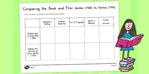 comparing the book and film worksheet differentiated to support. Black Bedroom Furniture Sets. Home Design Ideas