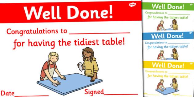 Tidy Table Award Certificates - tidy table, award, certificate, reward, tidy