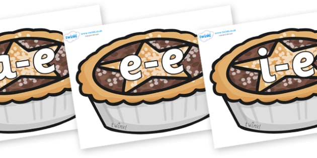 Modifying E Letters on Mince Pies - Modifying E, letters, modify, Phase 5, Phase five, alternative spellings for phonemes, DfES letters and Sounds