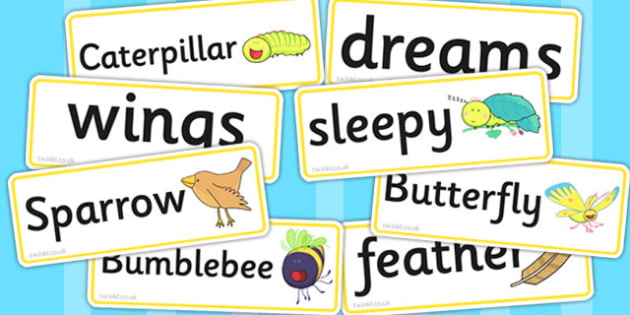 Word Cards to Support Teaching on The Crunching Munching Caterpillar - visual aid, story