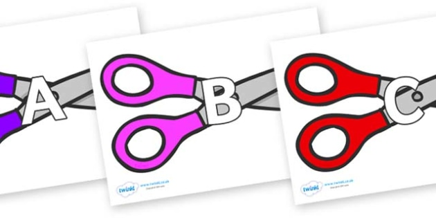 A-Z Alphabet on Scissors - A-Z, A4, display, Alphabet frieze, Display letters, Letter posters, A-Z letters, Alphabet flashcards
