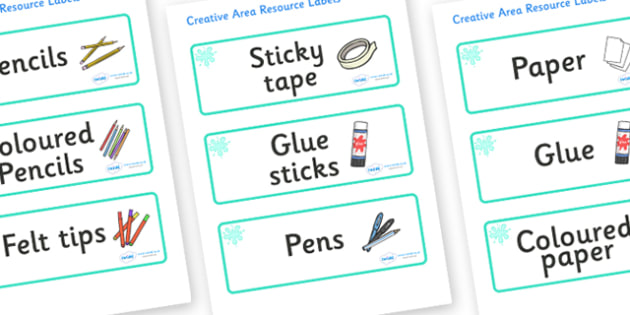 Turquoise Themed Editable Creative Area Resource Labels - Themed creative resource labels, Label template, Resource Label, Name Labels, Editable Labels, Drawer Labels, KS1 Labels, Foundation Labels, Foundation Stage Labels