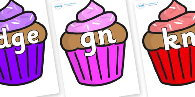 Silent Letters on Cupcakes - Silent Letters, silent letter, letter blend, consonant, consonants, digraph, trigraph, A-Z letters, literacy, alphabet, letters, alternative sounds