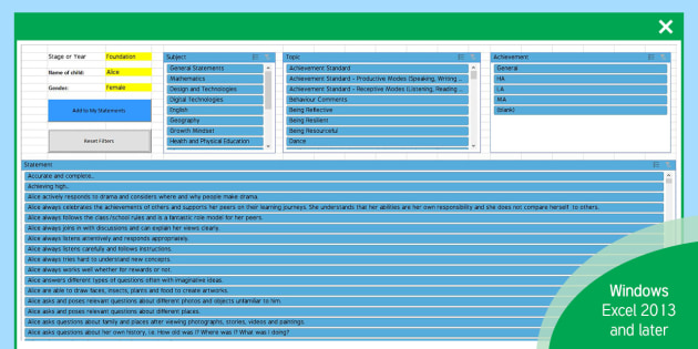 Australian Report Writing Bank of Statements Foundation to Year 6 Easy Selection Tool Spreadsheet - Australia, Reports, Reporting, Report Writing, Comments, Comment Bank, End Of Year, End Of Semester,