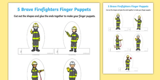 Firefighter Finger Puppets