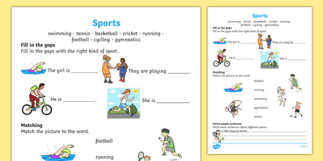 sports worksheet activity sheet worksheet