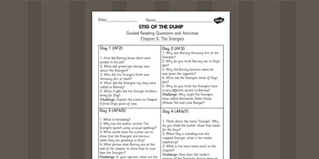 Stig of the Dump Guided Reading Chapter 5 - story, reading aid