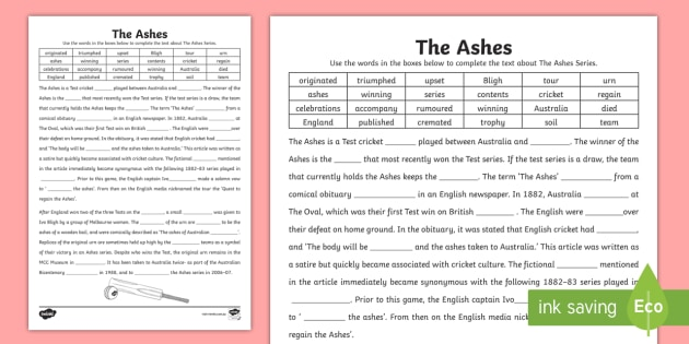 the ashes cloze activity sheet australian sport cricket literacy. Black Bedroom Furniture Sets. Home Design Ideas