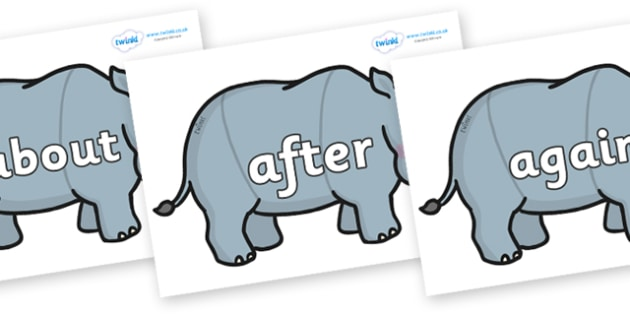 KS1 Keywords on Rhinos - KS1, CLL, Communication language and literacy, Display, Key words, high frequency words, foundation stage literacy, DfES Letters and Sounds, Letters and Sounds, spelling
