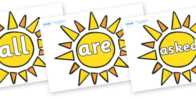 Tricky Words on Sun - Tricky words, DfES Letters and Sounds, Letters and sounds, display, words