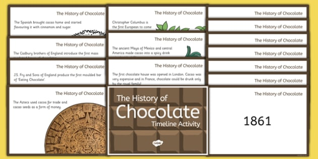 The History of Chocolate Timeline Ordering Activity Cards - the history of chocolate, timeline, ordering, timeline ordering, history, chocolate