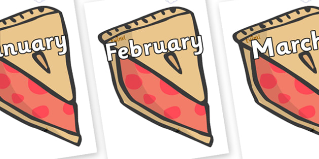 Months of the Year on Cherry Pie to Support Teaching on The Very Hungry Caterpillar - Months of the Year, Months poster, Months display, display, poster, frieze, Months, month, January, February, March, April, May, June, July, August, September