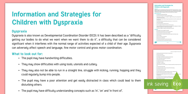 Dyspraxia Strategies and Information Adult Guidance - Dyspraxia, Developmental Coordination Disorder