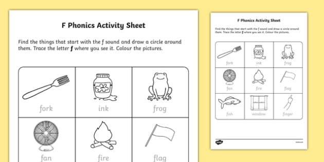F Sound Phonics Worksheet