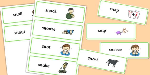 SN Word Cards - sn sound, word cards, word, cards, sound, sen, sn