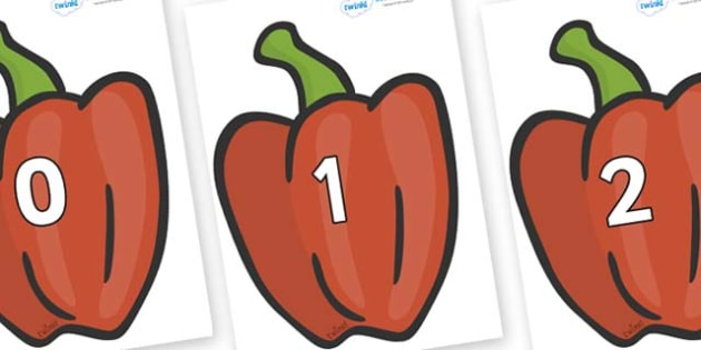 Numbers 0-31 on Peppers (Plain) - 0-31, foundation stage numeracy, Number recognition, Number flashcards, counting, number frieze, Display numbers, number posters