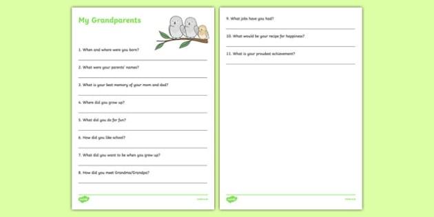 Grandparent Family History Interview Activity Sheet, worksheet