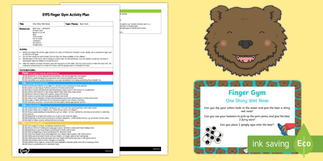 EYFS One Shiny Wet Nose Finger Gym Plan and Resource Pack