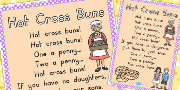 Hot Cross Buns Nursery Rhyme Poster A2 - nursery rhymes, display
