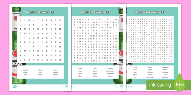 Alcohol Awareness Differentiated Word Search