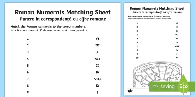 Roman numerals and numbers to 10 matching worksheet activity roman numerals and numbers to 10 matching worksheet activity sheet englishromanian worksheet ibookread ePUb