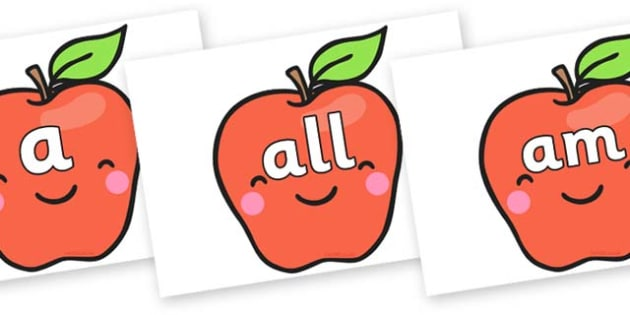 Foundation Stage 2 Keywords on Cute Smiley Apple - FS2, CLL, keywords, Communication language and literacy,  Display, Key words, high frequency words, foundation stage literacy, DfES Letters and Sounds, Letters and Sounds, spelling