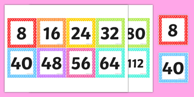 Multiples of 8 on Square Number Cards - multiples of 8, square, number cards
