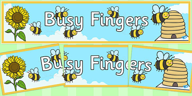 Busy Fingers Bee Display Banner - bus fingers bee, display banner, display