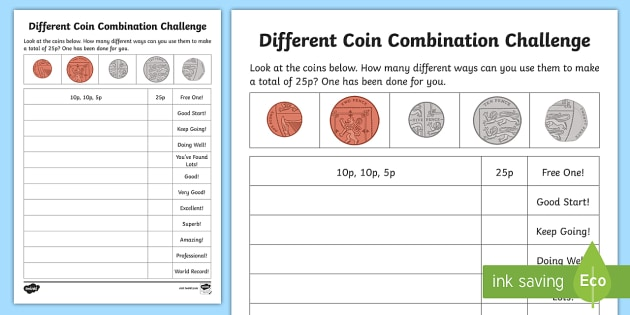 Different Coin Combination Challenge Activity Sheet - Learning from Home Maths Workbooks, British coins, sterling, problem solving, making lists, workshee