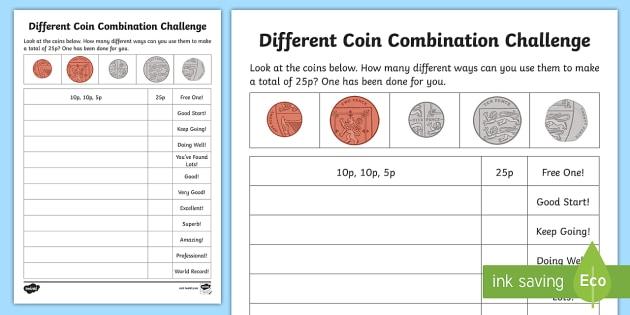 different coin combination challenge worksheet activity sheet. Black Bedroom Furniture Sets. Home Design Ideas