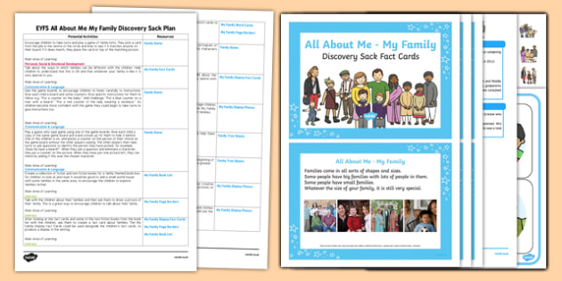 EYFS Ourselves All About Me My Family Discovery Sack Plan and Resource Pack - Early Years, KS1,families, UTW