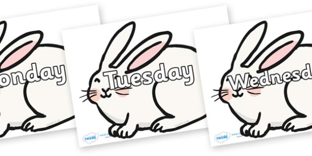 Days of the Week on Chinese New Year Rabbit - Days of the Week, Weeks poster, week, display, poster, frieze, Days, Day, Monday, Tuesday, Wednesday, Thursday, Friday, Saturday, Sunday